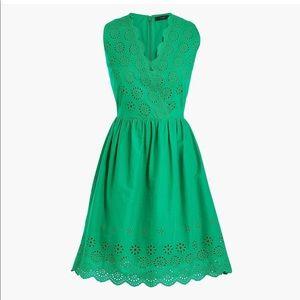 NWT J.Crew Green Border Eyelet Dress